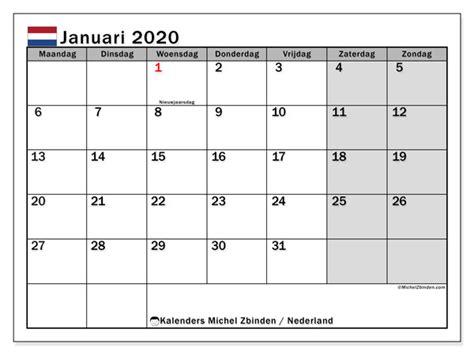 kalender januari  nederland michel zbinden nl