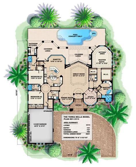 mediterranean house plan  story luxury coastal home floor plan tuscan house plans basement