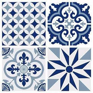 Stickers Imitation Carreaux De Ciment : sticker carreaux de ciment ginette bleu ~ Melissatoandfro.com Idées de Décoration