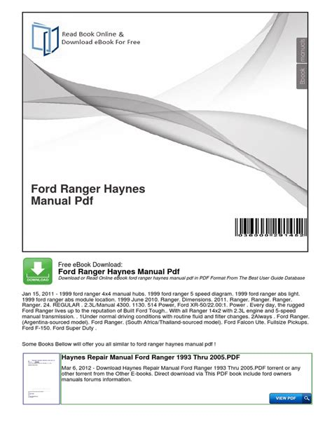 ford ranger owners manual docsharetips