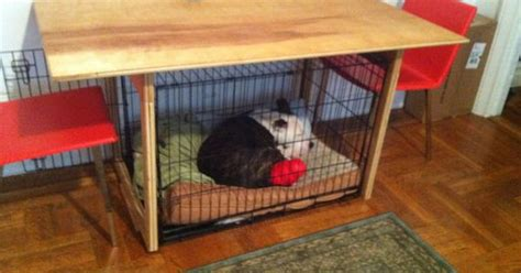 custom built dining table perfectly fits dog crate