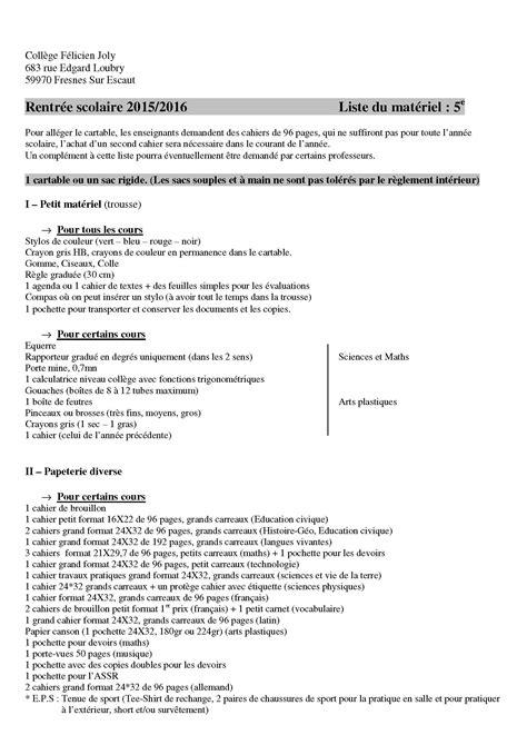 liste fourniture de bureau liste des fournitures scolaires site du collège félicien