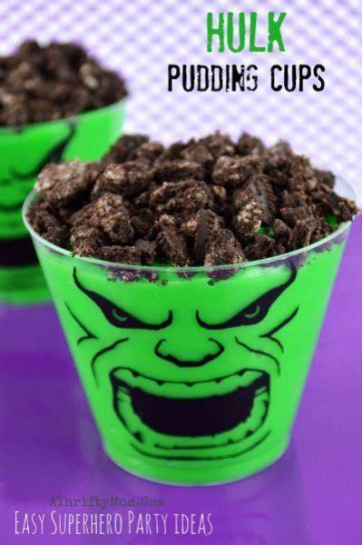 avengers superhero party ideas hulk pudding cups
