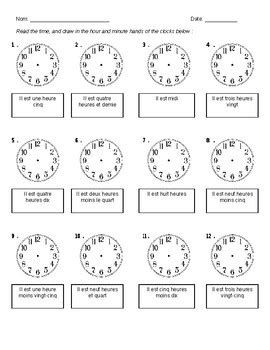 telling time activity french by cheyanne victorio tpt