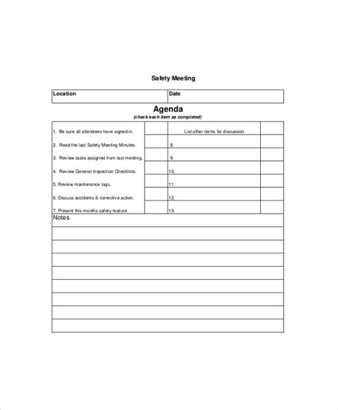 safety meeting agenda template   word
