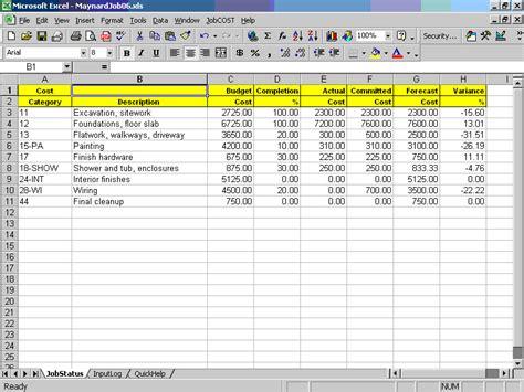 job cost controller spreadsheet  excel
