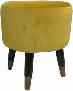 Pouf Jaune Moutarde : pouf effet velours art d co jaune moutarde ~ Teatrodelosmanantiales.com Idées de Décoration