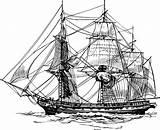 Clipart Frigate Ship sketch template