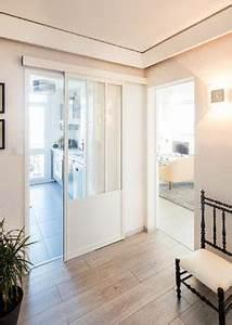 Porte De Placard Style Verriere : porte coulissante style atelier blanche sur mesure ~ Nature-et-papiers.com Idées de Décoration