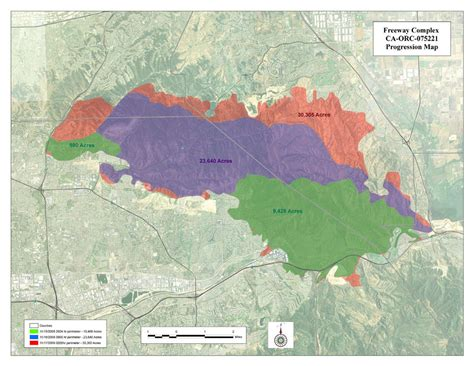 freeway complex fire map hills