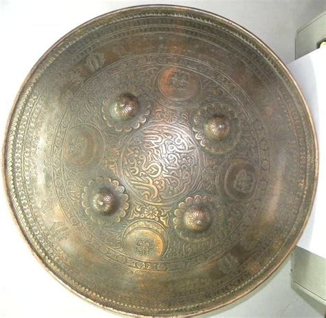 indian sikh warrio shield copper plated calligraphy