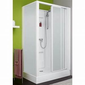 Installation Cabine De Douche : cabine de douche 100 x 80 cm acc s de face 3 vantaux izibox leda bricozor ~ Melissatoandfro.com Idées de Décoration