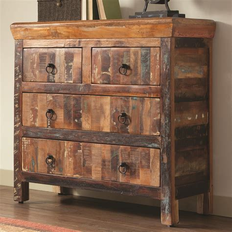 kitchen accent furniture coaster accent cabinets 950366 4 drawer reclaimed wood