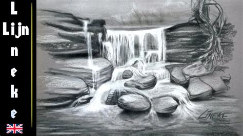 drawing  waterfall  charcoal  white pastel