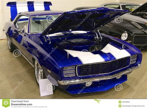 camaro pristine royal blue antique chevy editorial stock
