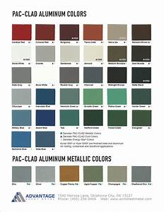 Berridge Color Chart Pac Clad Aluminum Color Chart Advantage Sheet Metal In