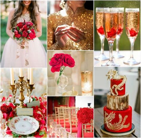 Red and Gold Wedding Inspiration Board Inspiration