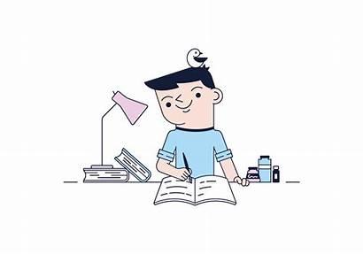 Vector Writer Writing Cartoon Storytelling Seo Doodle