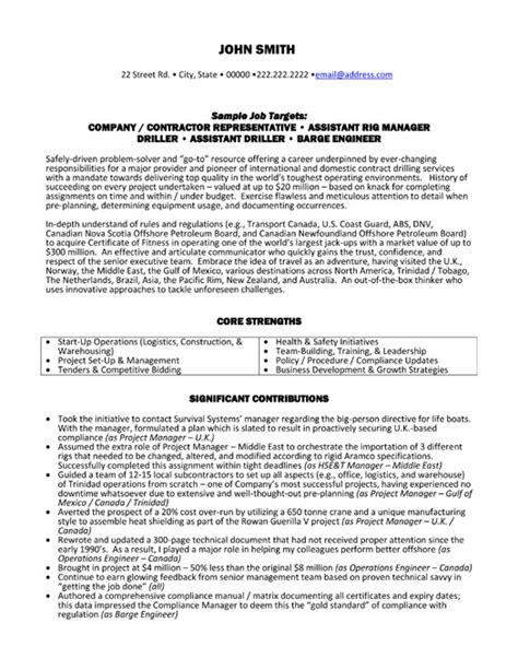 And Gas Resume Builder by Rig Manager Resume Sle Template