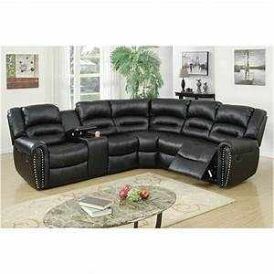 3 pc collette collection black bonded leather upholstered With black sectional sofa with nailhead trim