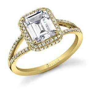 Sylvie Collection Split Shank White Gold Diamond Engagement Ring