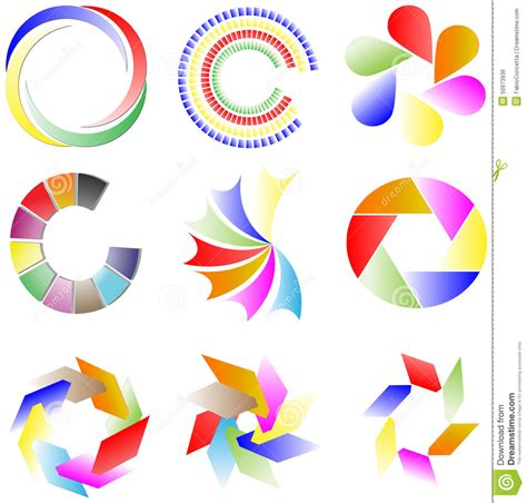 Collection Of Colorful Logos Stock Illustration