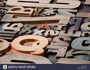 old printing blocks and letters in various styles With printing letters on wood