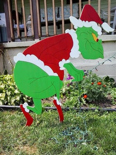 Grinch Outdoor Decorations by 48 Quot Sneaking Grinch Stealing Lights Yard