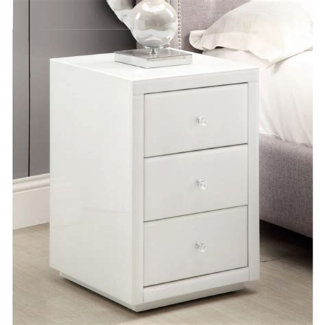 vegas mirrored white glass bedside tables tallboy package