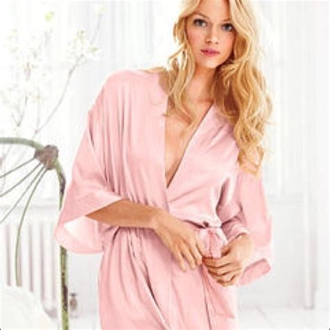s secret intimates sleepwear soldvictorias secret satin robe light pink ml poshmark