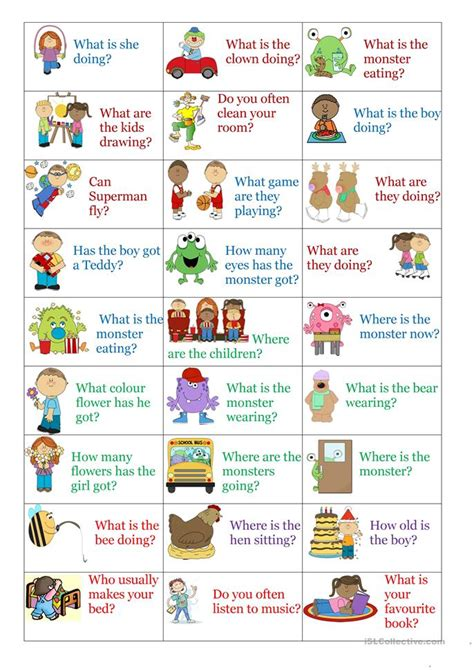 present simple continuous question cards worksheet