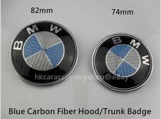 REAL Carbon Fiber 82mm Hood 74mm Trunk badge 2 pcs set