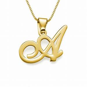 18ct gold plated initials pendant with any letter With gold necklace with the letter a