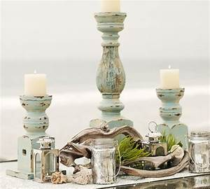 339 best decorating beach style images on pinterest With best brand of paint for kitchen cabinets with blue mercury glass candle holders