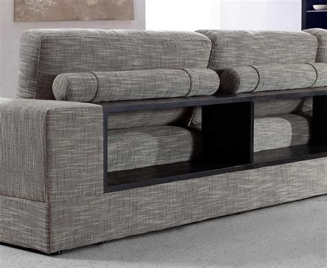 Gray Sectional Sofa Furniture by Grey Fabric Sectional With Wood Shelves Vg Antonio
