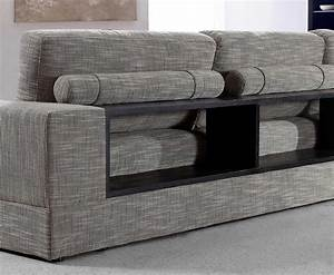 Grey fabric sectional with wood shelves vg antonio for Grey sectional sofa