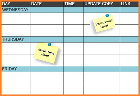 template  social media publishing schedule