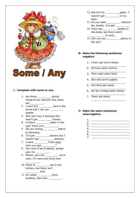 some or any elementary worksheet