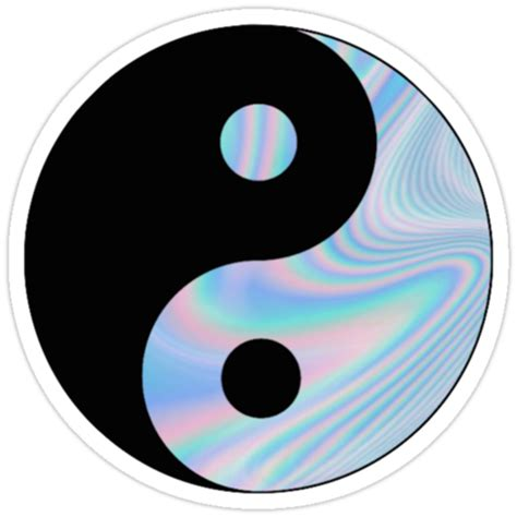 holographic yin yang stickers by cdanoff redbubble