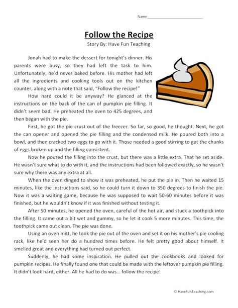follow  recipe reading comprehension worksheet