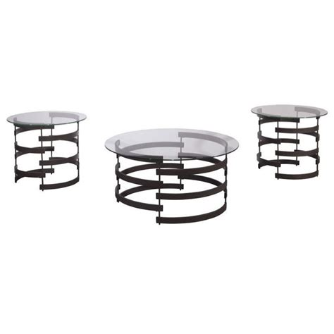 Bellenteen t295 by ashley coffee table set. Ashley Kaymine 3 Piece Round Glass Coffee Table Set in ...