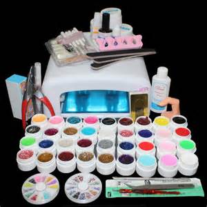 Acrylic nail kit uv gel polish set with lamp w
