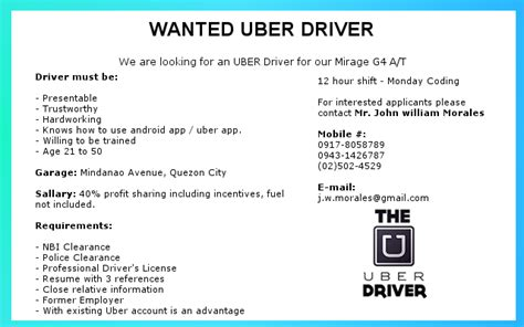 Uber Driver Description Resume by Wanted Uber Driver Philippines Uber Manila Driver Tips