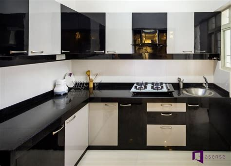 Black And White Kitchen Designs From Mobalpa by Black And White Themed Modular Kitchen By Snigdha Ghosh