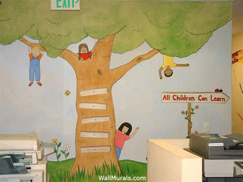 preschool wall murals daycare mural examples wall 872 | 1 tree mural kids preschool