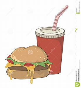 Cartoon Fast Food Hamburger And A Drink Stock Vector ...