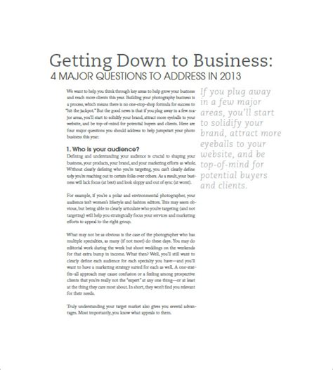 Photography Business Plan Template  11+ Free Word, Excel