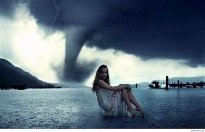 Alone Wallpapers Sad Tornado Surreal Sitting Woman