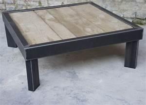 Pied De Table Metal Carré : table basse bois metal sur pied table basse design ~ Teatrodelosmanantiales.com Idées de Décoration