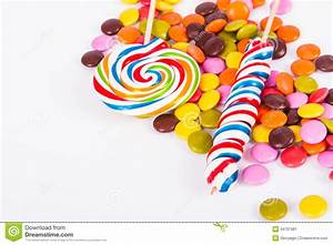 Lollipop Candy On Stick With Little Sugars Stock Image ...